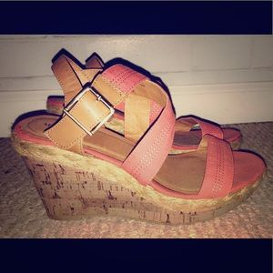 Coral strappy wedges